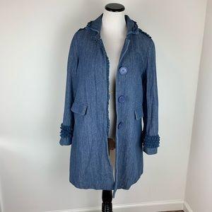 Marc Jacobs Blue Denim Coat Ruffle Chambray Jean